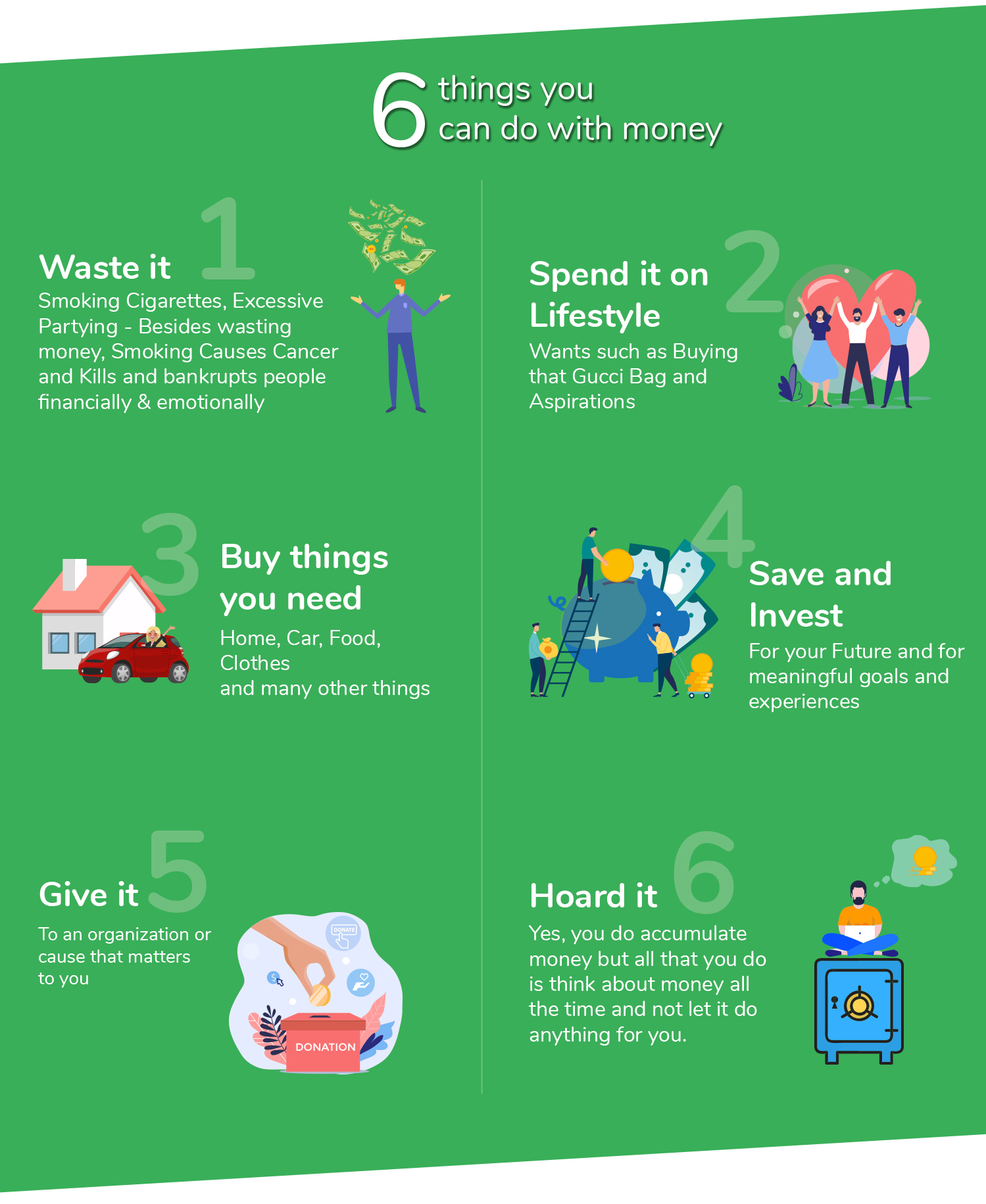 6 things you can do with money